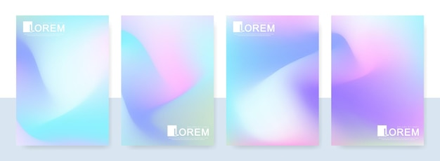 Trendige abstrakte mockup-pastellfarbene holografische farbverlaufsvorlagen im a4-format. geeignet für beiträge, banner-design und layout-design-vorlage für broschüren. vektor-mode-hintergründe.