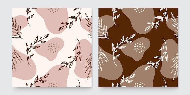 Trendige abstrakte quadratische kunstvorlagen mit floralen und geometrischen elementen. geeignet für social-media-beiträge, mobile apps, banner-design und web- oder internet-anzeigen. modehintergründe