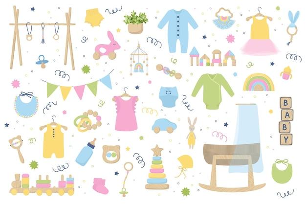 Trendige babykleidung, accessoires und holzspielzeug. zero waste kindergartenkollektion mit body, montessori-spielzeug, wiege, stubenwagen. hand gezeichneter vektorillustrationssatz lokalisiert auf weißem hintergrund.