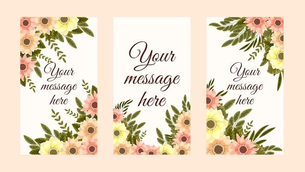 Trendige bearbeitbare blumenvorlage für instagram-geschichten stories sale banner background poster coupon