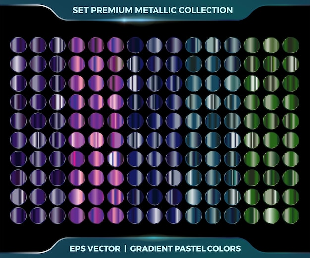Trendige bunte farbverlauf lila, grün, blau metallic-kombination mega-set sammlung von metall-pastell-paletten für randrahmen-band-cover-etiketten-vorlagen