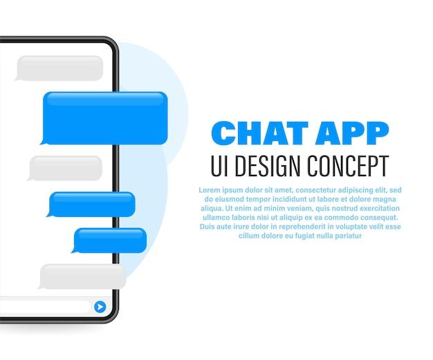 Trendige chat-anwendung mit dialogfenster