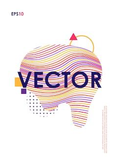 Trendige cover-design-vorlage mit abstrakter flüssiger form
