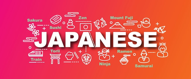 Trendige fahne des japanischen vektors