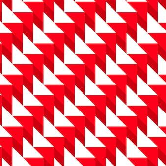 Trendige geometrische dreiecke nahtloser hintergrund in rot und weiß