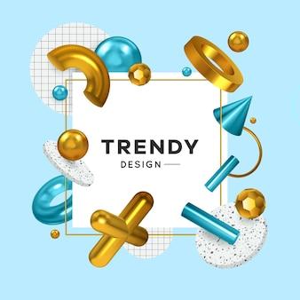 Trendige geometrische formen dekorative elemente facettierte perlen goldenes kreuz anhänger ringe kegel realistischen quadratischen rahmen