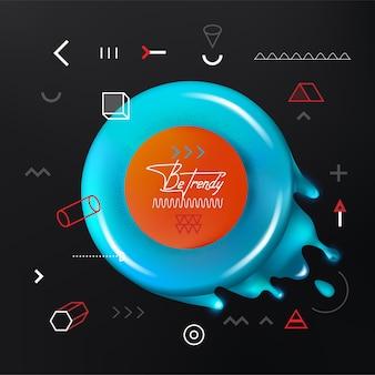 Trendige geometrische formen mit dem frischen aqua flüssigen donut. ein zusätzlicher satz geometrischer elemente.