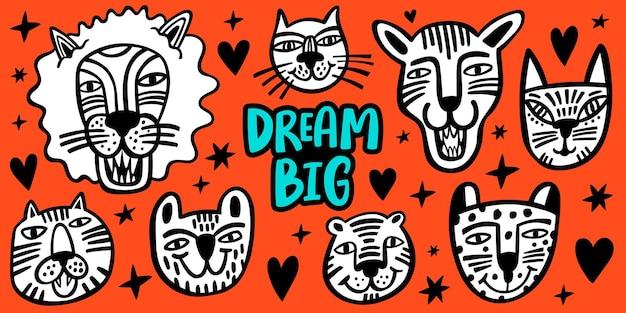Trendige handgezeichnete brüllende und lächelnde tiere, tiger, löwe, katze, kohle für poster oder druckdesign. netter vektorsatz.