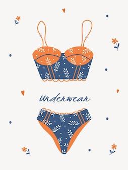 Trendige handgezeichnete unterwäsche oder bikinioberteile und -unterteile
