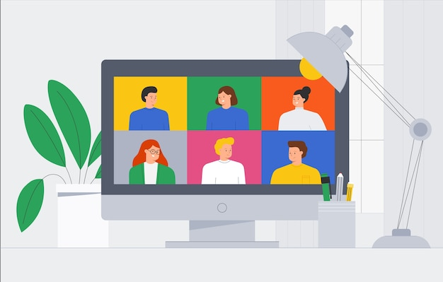 Trendige illustration eine gruppe von menschen freunde treffen online-video-telefonkonferenz. videoanrufe und nachrichtenübermittlung, beratung, seminar, online-schulungskonzept.