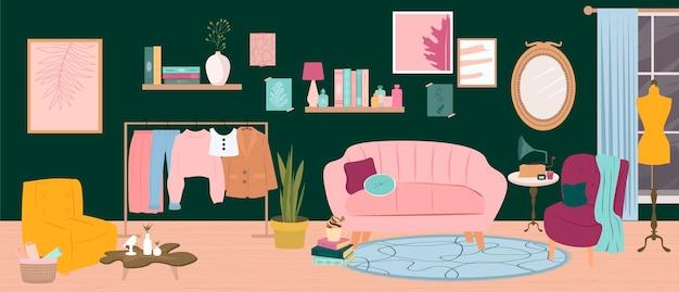 Trendige illustration eines gemütlichen modernen innenraums eines wohnzimmers mit einem sofa und sesseln