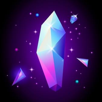 Trendige kosmische kristalledelsteine im weltraum. 80er jahre stil.