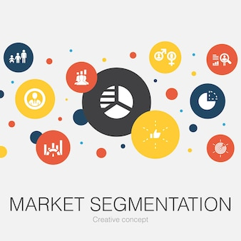 Trendige kreisvorlage für die marktsegmentierung mit einfachen symbolen
