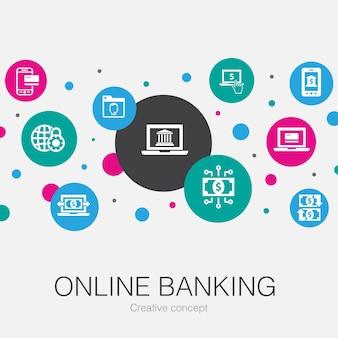 Trendige kreisvorlage für online-banking mit einfachen symbolen. enthält elemente wie geldtransfer, mobile banking, online-transaktion, erfolg mit digitalem geld