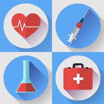 Trendige medizinische ikonen mit schatten. flacher designstil