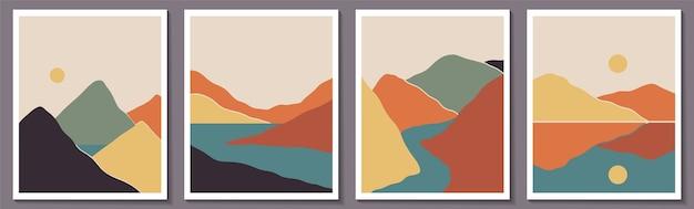Trendige minimalistische abstrakte landschaftsillustrationen