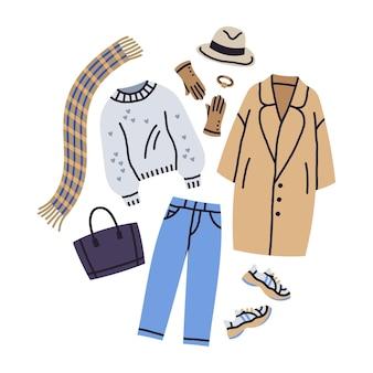 Trendige modekleidung casual outfit mantel und turnschuhe stilvolle aussicht vektor-illustration