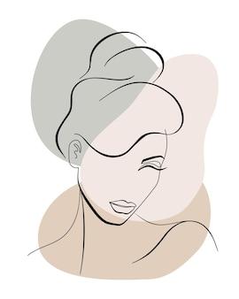 Trendige modekonturzeichnung lineart porträt eines schönen mädchens abstraktes gesicht