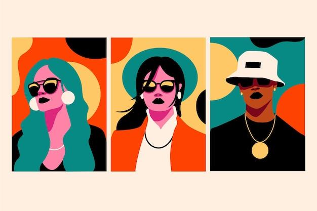 Trendige modeporträts decken die kollektion ab