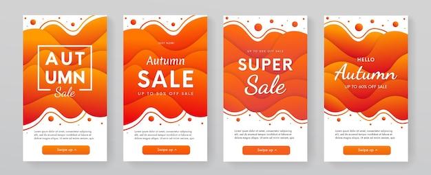Trendige moderne mobile banner-kollektion für den herbstverkauf. promo-poster mit dynamischem vektordesign mit fließenden formen.