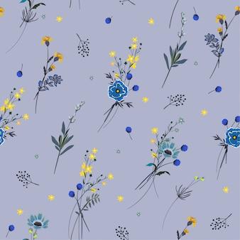 Trendige nahtlose musterwiesenblumen