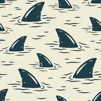 Trendige nahtlose surfmuster. endlose textur mit haifischflosse für tapeten