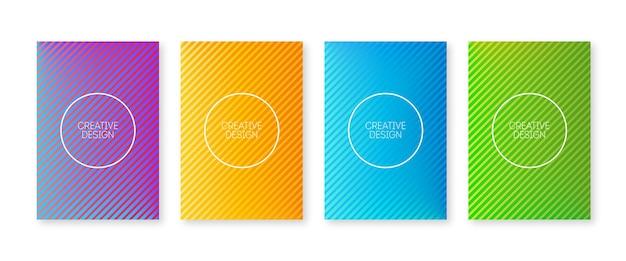 Trendige neue cover-kollektion. geometrische linien und bunter farbverlauf. minimaler entwurfsvektor für den jahresbericht