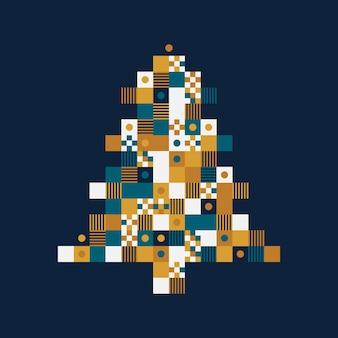 Trendige pixelkunstkarte des neuen jahres oder der weihnachtszeit mit weihnachtsbaum. illustration.