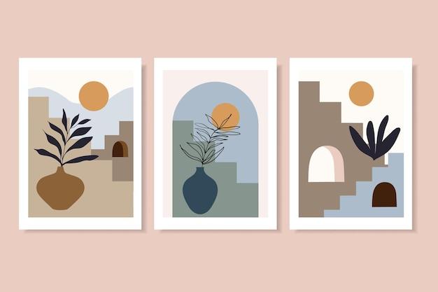 Trendige plakate wandkunst mit treppen und vasen zeitgenössisches design