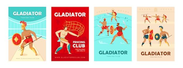 Trendige plakatentwürfe mit kolosseumgladiatoren. lebendige broschüren mit alten kriegern mit schwertern und schilden. fechtclub, hobbykonzept