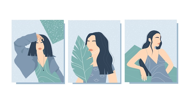 Trendige poster mit frauen. zeitgenössische kunst. stilisierte weibliche formen