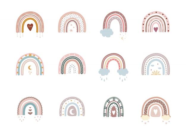 Trendige regenbogen im boho-stil in verschiedenen farben.