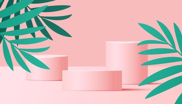Trendige rosa farbe mit podium oder plattform, tropischer blätterhintergrund