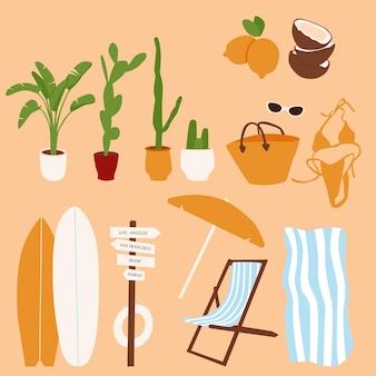 Trendige sommerelemente. sonnenschirm, sonnenliege, surfbrett, schild, palme und kakteen, handtuch, tasche, badeanzug, brille, kokosnuss, zitrone contemporary