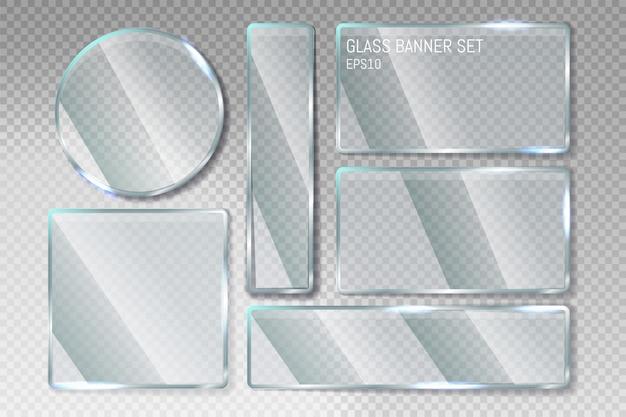 Trendige transparente glasbanner-formplatten mit platz für inschriften im transparenten hintergrund. glas transparente banner gesetzt.