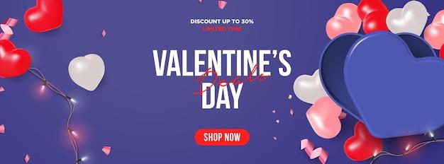 Trendige valentinstag sale banner vorlage