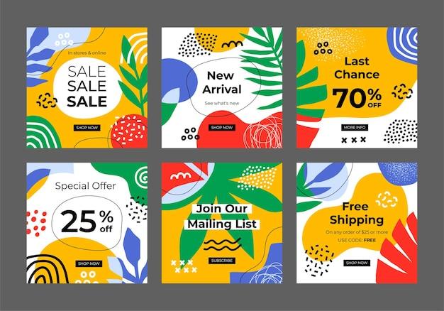 Trendige vorlagen mit pflanzenelementen für das design von bannern für mobile apps in sozialen medien