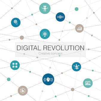 Trendige webvorlage der digitalen revolution mit einfachen symbolen. enthält elemente wie internet, blockchain, innovation, industrie 4.0
