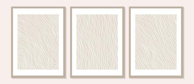 Trendige zeitgenössische abstrakte wandkunst, set aus 3 boho-kunstdrucken, minimale schwarze formen auf beige
