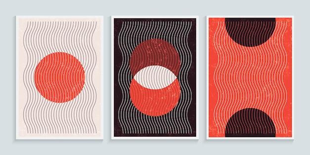 Trendige zeitgenössische wandkunst mit primitiven formelementen