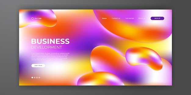 Trendiger abstrakter flüssiger hintergrund für ihr landingpage-design. minimaler hintergrund für website-designs. farbverlauf lebendige kontrastfarbe