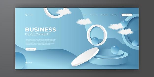 Trendiger abstrakter hintergrund mit podiumsbühne für ihr landingpage-design. minimaler hintergrund für website-designs.
