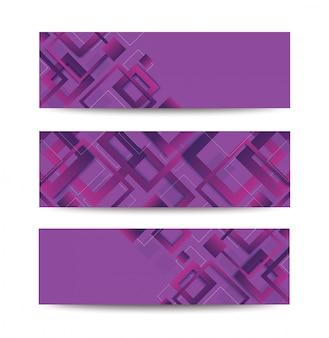 Trendiger bannerhintergrund des modernen lila quadratischen gradienten