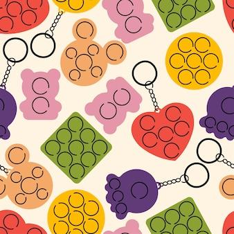 Trendiger bunter sensorischer pop, der nahtloses muster der zeichnungen auf hellem hintergrund zappelt