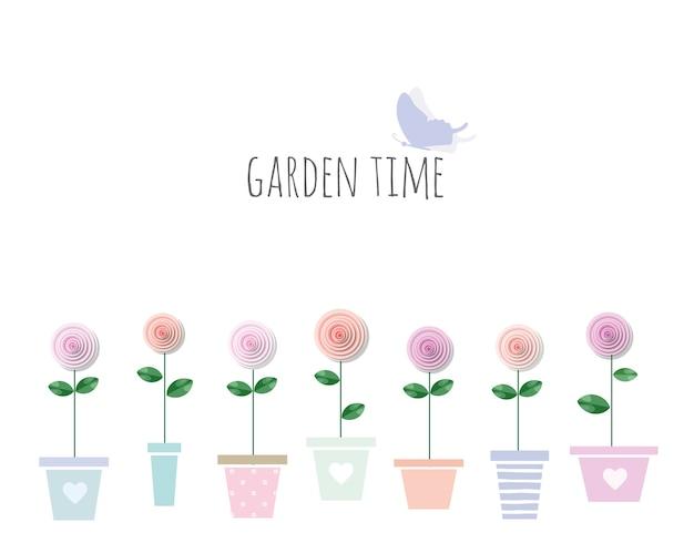 Trendiger print mit gartenblumen in töpfen