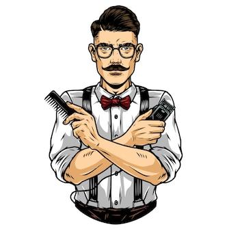 Trendiger schnurrbärtiger barbier in brille, der eine hemdfliege mit hosenträgern trägt und kamm und haarschneidemaschine im vintage-stil hält, isolierte vektorillustration