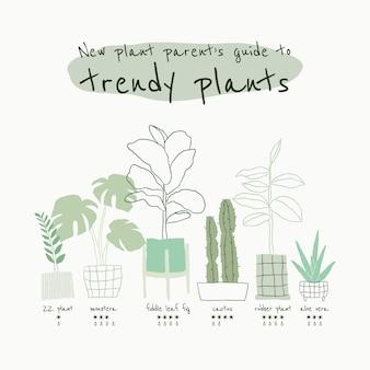 Trendiger zimmerpflanzenführer-vorlagenvektor für soziale medien