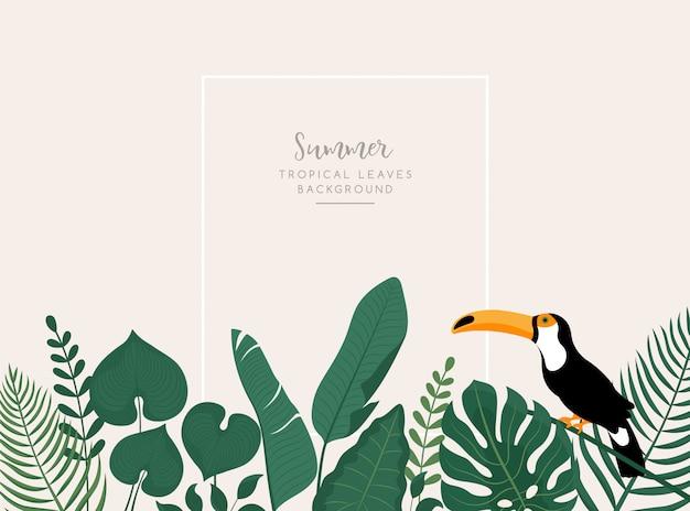 Trendiges banner mit tropischen blättern, tukanvogel und raum für text.