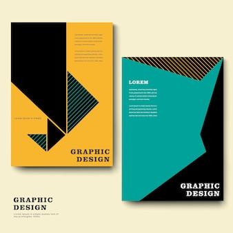 Trendiges broschüren-vorlagendesign mit geometrischem element