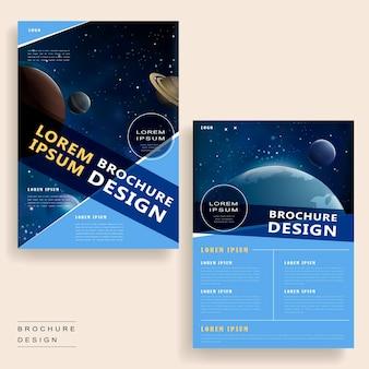 Trendiges broschüren-vorlagendesign mit universumslandschaft und geometrischen elementen